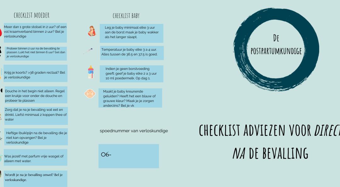 Checklist adviezen 24 uur ná je bevalling